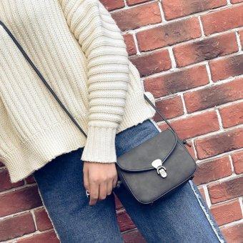 New Women PU Leather Messenger Lock Shoulder Bag (Black) - intl