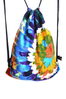 Portable Foldable Women Colorful Flowers Printed Cotton Adjustable Drawstring Leisure Travel Sports Gym Lightweight Backpack Bag