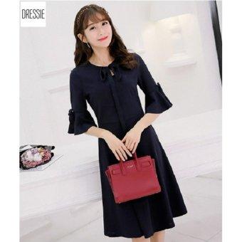 Đầm Công Sở Tay Lỡ Thời Trang Cao Cấp DRESSIE - KU0842 (Xanh Lam Đậm)