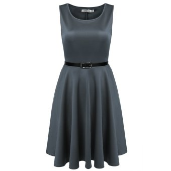 Cyber Meaneor Women Sleeveless High Waist Pleated Party Dress With Belt ( Grey ) - Intl