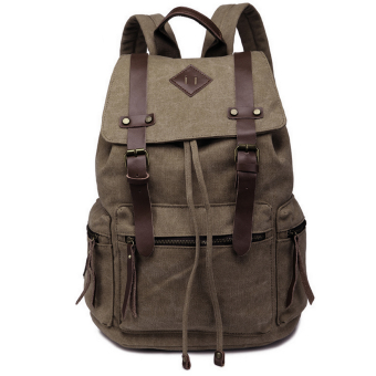 Canvas Shoulder Backpack for School Hiking Camping Trip Coffee