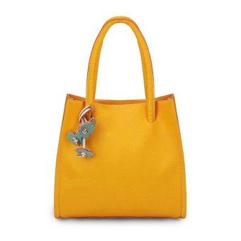 Contrast Color Retro Handbags Casual Shoulder Bags Yellow - Intl