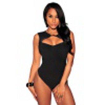 Sexy Women Jumpsuit Bodycon LeoPard Print Hollow Out Bodysuit black - Intl