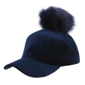 Unisex Pom Pom Ball Velvet Adjustable Baseball Cap Hip-Hop Hat (Navy Blue) - intl