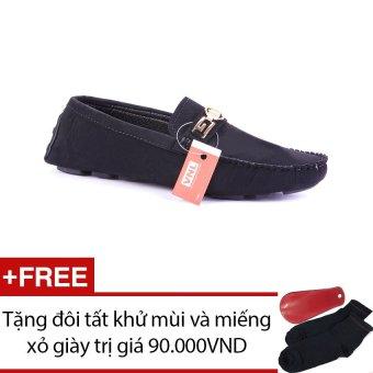 Giày mọi nam cao cấp Da Giày Việt Nam VNL2LZD34D (Đen) + Tặng 01 đôi tất khử mùi và 01 miếng xỏ giày trị giá 90.000 VND