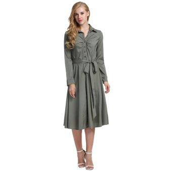 Linemart Women Turn Down Collar Shirt Dress Long Sleeve Belt Decor Swing Hem Casual Slim Calf Dress ( Grey ) - intl