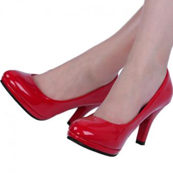 Ladies Thick High Heel Shoes Patent Leather Shallow Mouth Round Toe (Red) - intl