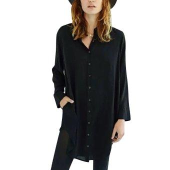 Black Women Casual Solid Color Long Sleeve Long Shirt - intl