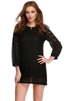 Linemart Hollow Lace Loose Mini Dress (Black) - intl