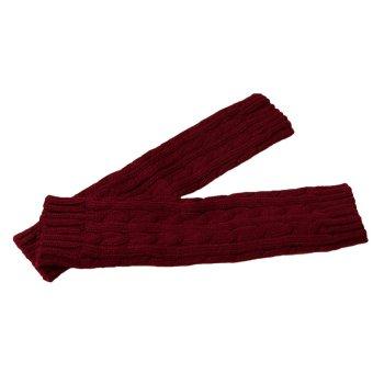 Fashion Winter Men Women Gloves Mitten Warm Knitted Fingerless Arm Long Unisex - intl