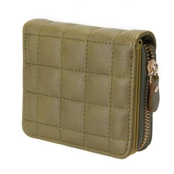 Women PU Leather Plaid Purse Nubuck Card Holder(Army Green) - intl
