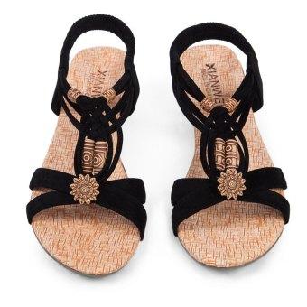 Elegant Summer Bohemian Low Wedges Lace Up Women Beach Shoes (Black) - intl