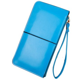 New Retro Long Card Holder Purse Leather Stitching Lady Women Wallet Light Blue - intl