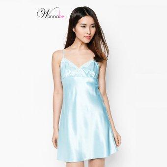 Đầm ngủ satin thanh lịch Wannabe DN121 (Xanh Biển)