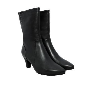 Giày bốt nữ cao gót 5cm da bò thật cao cấp màu đen ESW45