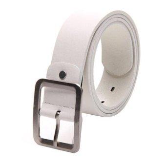 Men's Casual Faux Leather Belt Buckle Waist Strap Belts White