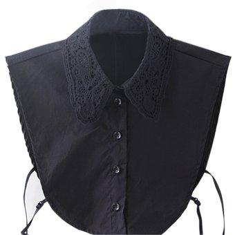 Women Lady Detachable Occupational Lace Style Half Shirt Blouse Fake Collar Black