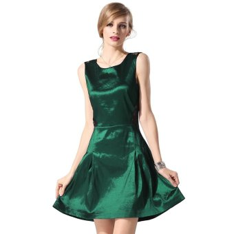 Sunweb Finejo Stylish Sexy Lace Cross Sleeveless Party Cocktail Charming Dress ( Green ) - intl