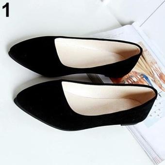 Bluelans Women's Fashion Slip-on Metal Decor Elegant Pointed Toe Shoes 7.5 (Black) - intl
