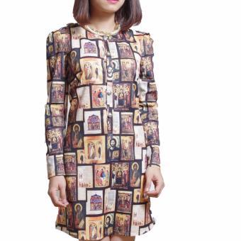 Đầm Suông Cổ Tròn Tay Lỡ Hoạ Tiết Lạ Mắt Salome Fashion