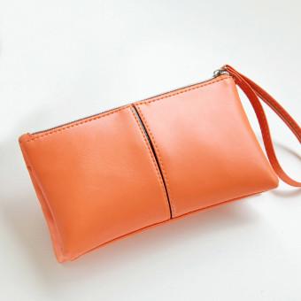 Women Leather Long Bifold Purse Zipper Clutch Handbag Wallet Card Bag Orange