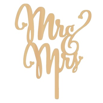 Wooden Mr and Mrs Wedding Anniversary Engagement Cake Topper Pick Party Cake Decoration Accessories - intl