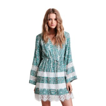 Zaful Printing Dress Women V neck and Lace Sitching Design Loose Dress - Intl