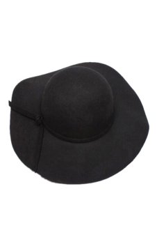 Wool Wide Brim Felt Bowler Fedora Hat (Black)