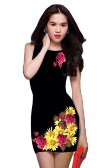 Đầm 3D in hoa TT23 (Đen)