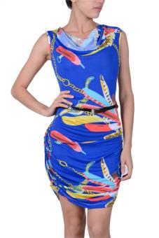 Sunweb Silk Feather Printed Clubwear Babydoll Mini Dress +G-String Blue - Intl
