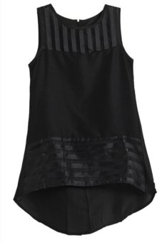 Lalang Sleeveless Organza Chiffon Top Black - Intl