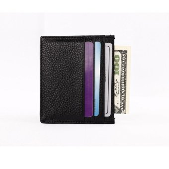 Mini Neutral Grind Lichee Pattern Leather Wallet Card Holder Wallet Purse Black
