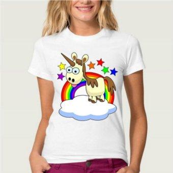Newest Funny Unicorn Rainbows T-Shirt Summer Harajuku Cartoon T-Shirt(Pattern Random)A6 - intl