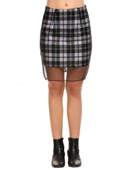 Linemart Women Casual Plaid Net Yarn Cover Up Back Zipper Pencil Sexy Skirt ( Black ) - intl