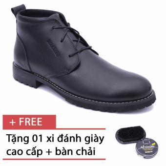 Giày da bốt cổ ngắn cho nam Smartmen SM-02 (Đen), tặng kèm 1 bàn chải và xi đánh giày cao cấp