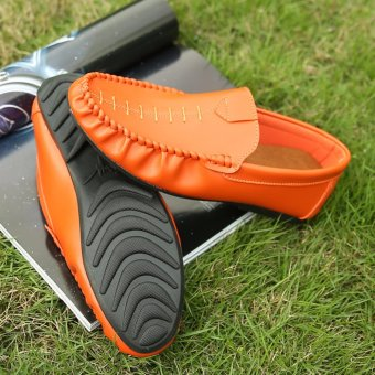 Jarma man's loafers slip-Ons shoes driving shoes male shoes flat moccasin Tods(Orange) - intl