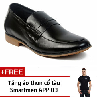 Giày Lười Tăng Chiều Cao Smartmen Gl-223 (Đen) + Tặng Áo Thun Nam