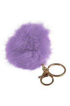 HKS Elegant Cute Slim Soft Fur Ball Handbag Key Chain Cell Phone Car Keyfob Pendant Lilac - intl