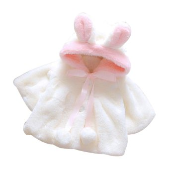 Baby Infant Girls Fur Winter Warm Coat Cloak Jacket Thick Warm Clothes White - intl
