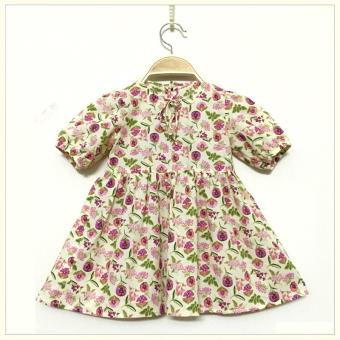 Đầm Hoa Tay Lửng Khuy Lưng (Vàng Nhạt) Papa Fashion