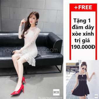 Đầm Body Đuôi Cá Ren DRESSIE - L013B1 (Trắng) + Tặng Đầm Dây Xòe