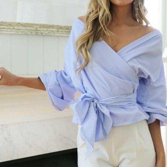 Off Shoulder Women Tops Blouses Deep V Neck Cotton Elegant Women Blouses Shirt Casual Long Sleeve Girls Blouse - intl