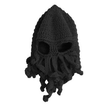 Unisex Kids Child Octopus Style Acrylic Fibers Winter Warm Knitting Face Mask Knitted Beard Squid Hat Cap for 3-8 Years Old Kids Black - intl