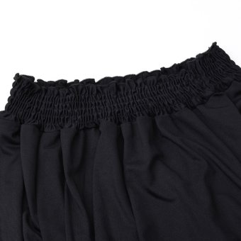 Women Shirred Off Shoulder Frill Casual Long Sleeve Blouse Black - Intl