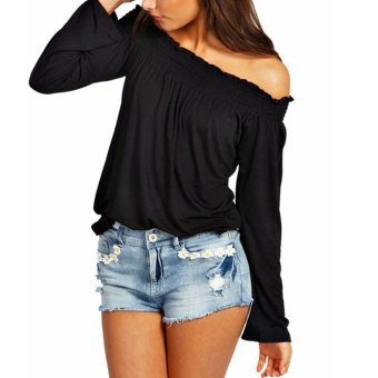 Mua Women Shirred Off Shoulder Frill Casual Long Sleeve Blouse Black - Intl giá tốt nhất
