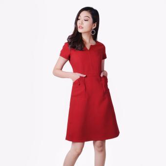 Đầm Suông Cổ Xẻ V Phối Túi Thời Trang Eden (Đỏ) - D170