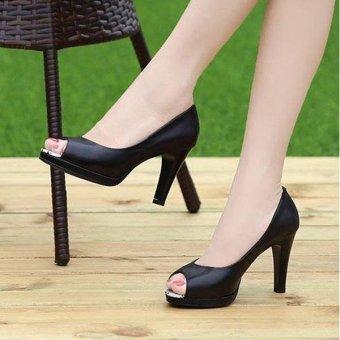 Giày Cao Gót Hở Phối Beo-Kem