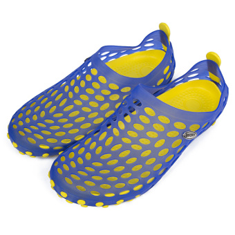Male Hollow Jelly Breathable Garden Slipper Shoes(Blue and Yellow) - intl