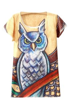 Summer Print Owl Loose Casual T- Shirt (Multicolor) - Intl
