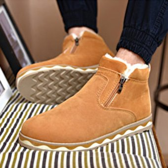 Winter Men Cotton Boots Fur Lining Keep Warm Plush Casual Outdoor Flat Shoes Camel - intl